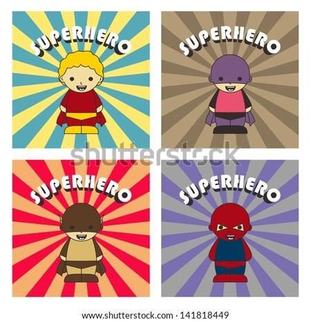 vintage super hero set three - stock vector