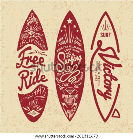 vintage surf board with type - stock vector