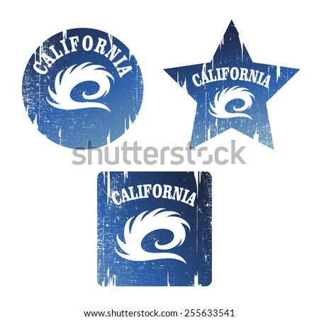 vintage surf grunge shields with pipeline wave - stock vector