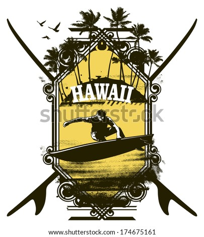 vintage surf shield with rider and palms - stock vector