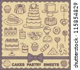 Vintage sweets related poster with canvas textured background - stock vector