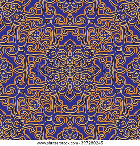 Vintage swirly ornament, arabesque, vector decorative seamless pattern - stock vector
