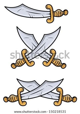 Vintage Swords - Vector Cartoon Illustration - stock vector