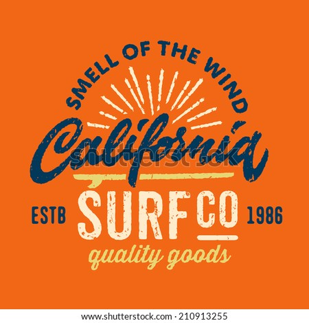 Vintage t-shirt apparel graphic design for surfing company  - stock vector