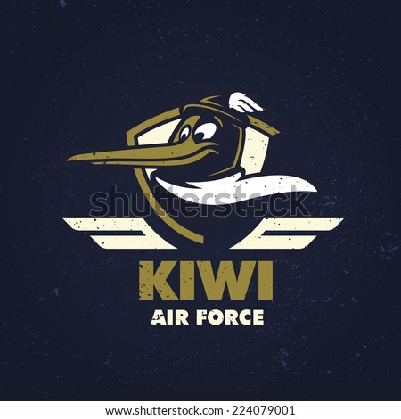 Vintage t-shirt funny apparel fashion design 'Kiwi Air Force', vector illustration - stock vector