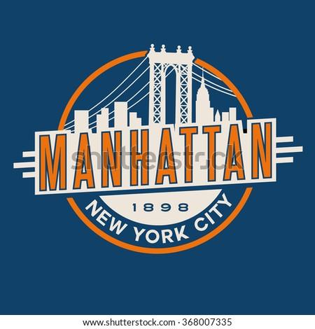 vintage t-shirt sticker emblem design. Manhattan New York City and Manhattan Bridge and  skyline - stock vector