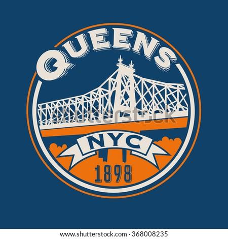 vintage t-shirt sticker emblem design. Queens, New York City and Queensboro Bridge - stock vector