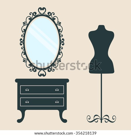 vintage table and mirror oval and mannequin - stock vector