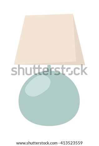 Vintage table lamp isolated on white. Table lamp isolated home interior design and electric furniture table lamp. Table lamp night room equipment and desk retro classic table lamp. - stock vector