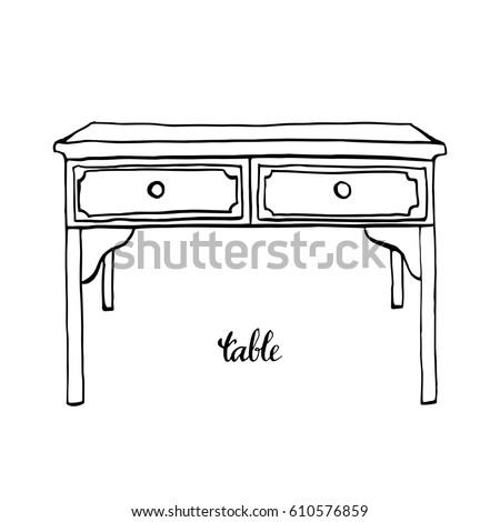 Vintage Table Furniture Interior Design Elements Hand Drawn Ink Sketch Illustration Isolated