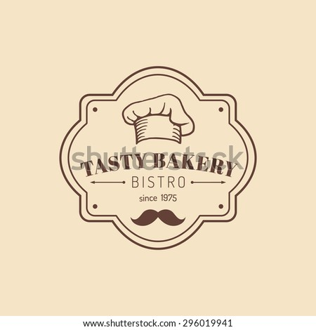 Vintage tasty bakery logo. Hipster pastry icon. Biscuit sign. Desert typographic poster. Vector cupcake label. Retro sweet cookie emblem.  - stock vector