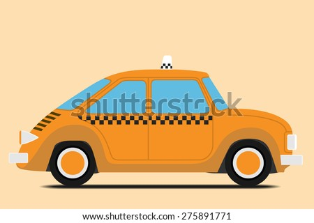 Vintage Taxi car image. Isolated, Vector illustration - stock vector