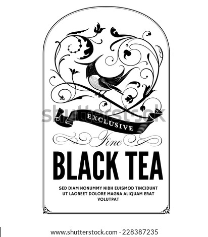 Vintage Tea Label - stock vector