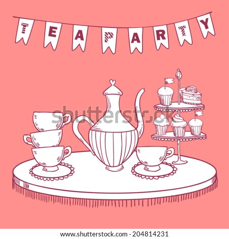 Vintage tea party invitation on pink background - stock vector