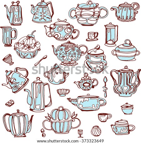 Vintage tea porcelain. Tea vector labels. Kettles and cups.  - stock vector