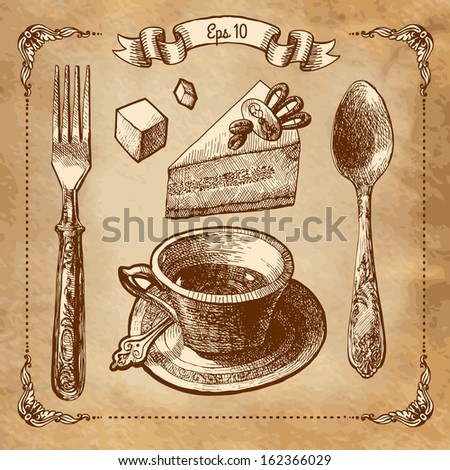 Vintage tea set - stock vector