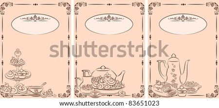 Vintage tea set and sweet cakes. Vector - stock vector