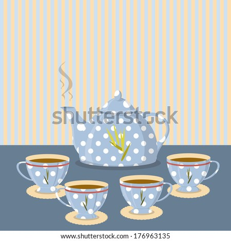 Vintage tea set on the background of the strips - stock vector