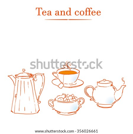 Vintage tea set. Vector illustration - stock vector