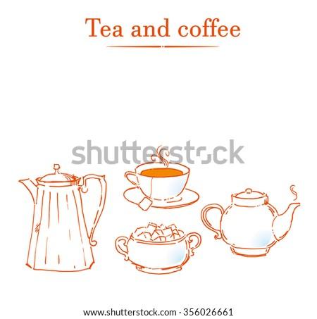 Vintage tea set. Vector illustration - stock vector