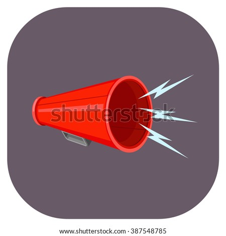 Vintage technology communications device. A vector illustration icon of a bullhorn. Flat icon shouting communication loud concept. - stock vector
