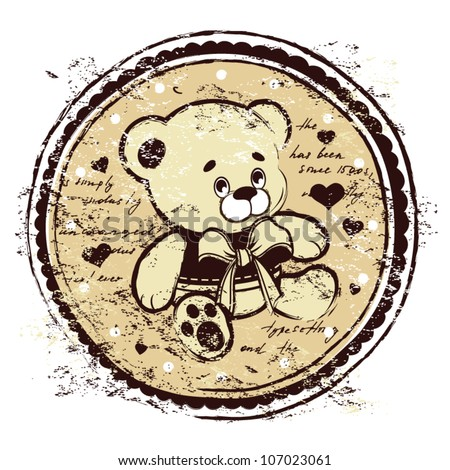 Vintage Teddy Bear illustration - stock vector