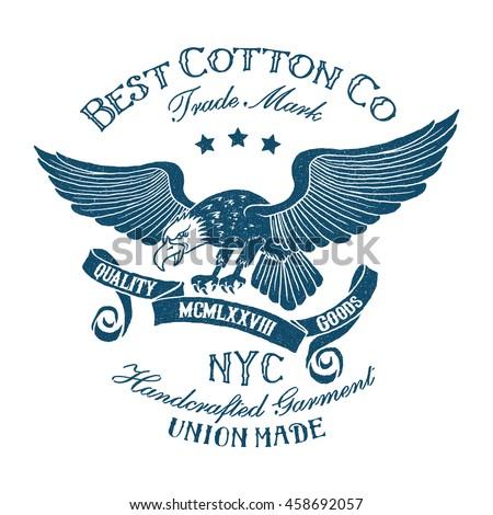 vintage tee print design eagleribbon type stock vector royalty free