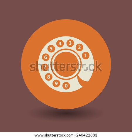 Vintage telephone disk icon or sign, vector illustration - stock vector