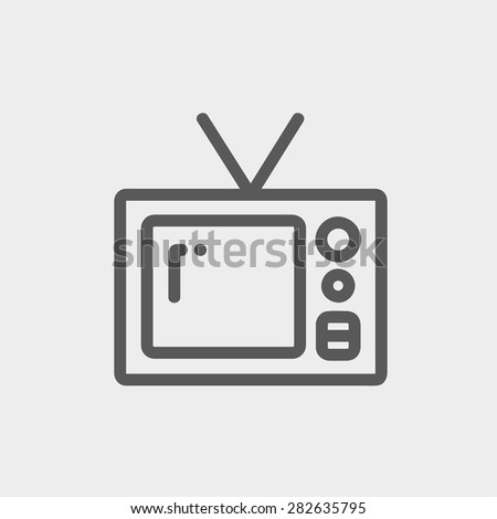 Vintage television icon thin line for web and mobile, modern minimalistic flat design. Vector dark grey icon on light grey background. - stock vector
