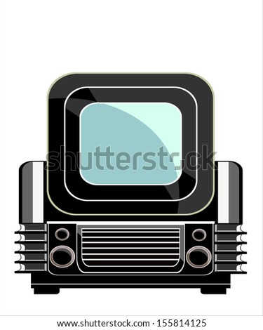 Vintage television over white background - stock vector