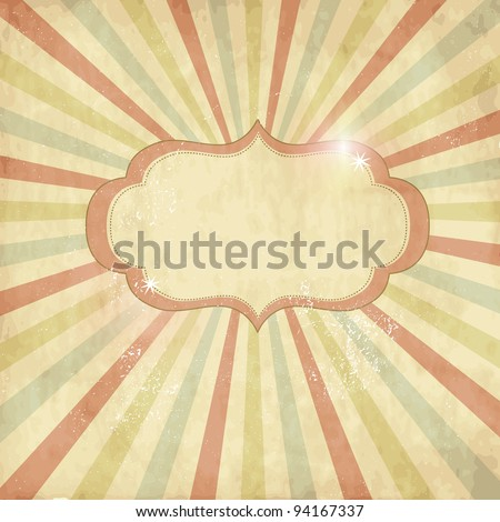 Vintage template, colored sun burst background. - stock vector