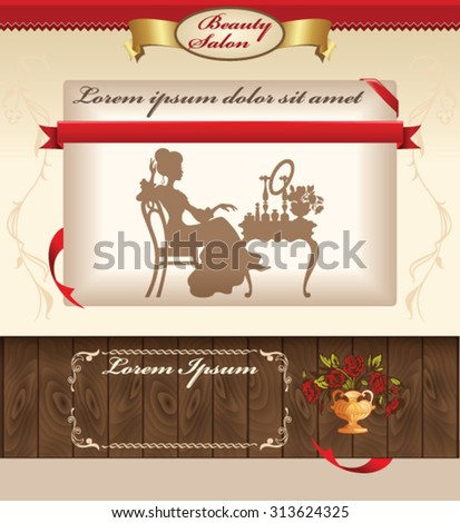 Vintage template for beauty salon web site - stock vector