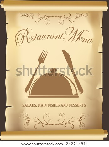 Vintage template for restaurant menu, book covers or posters. Vintage Restaurant Poster.Food Menu Poster design.Restaurant Menu. Vintage Food menu poster design