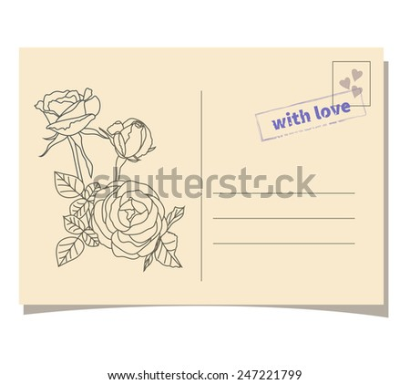 Vintage template invitation card with bouquet of roses and  stamp - stock vector