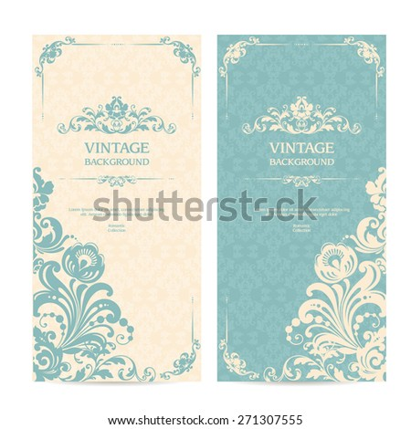 Vintage template set with ornamental frames and patterned background. Elegant lace wedding invitation design, Greeting Card, banners - stock vector