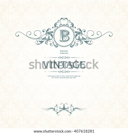 Vintage template with Monogram, border and classic seamless pattern. Wedding invitation design, Greeting Card,  menu, label. Graphic design page. - stock vector