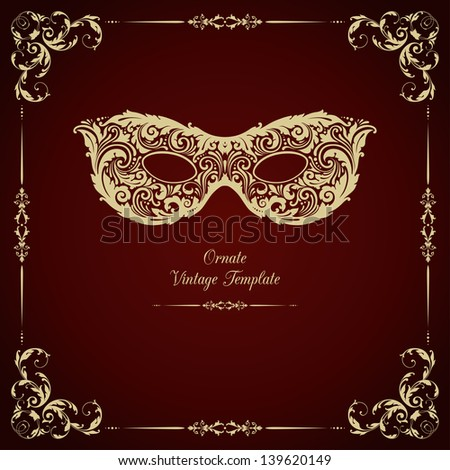 Vintage template with ornament and  mask - stock vector