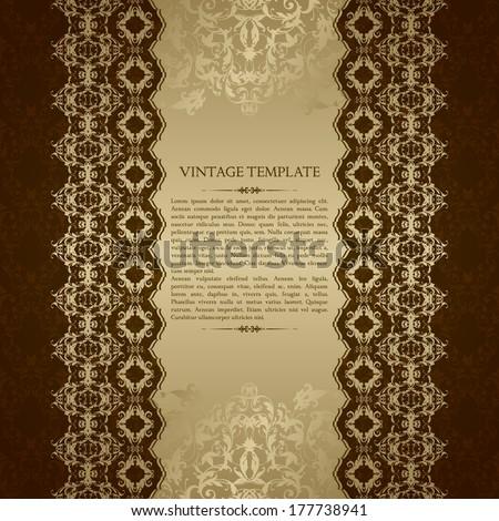 Vintage template with ornamental borders and patterned background