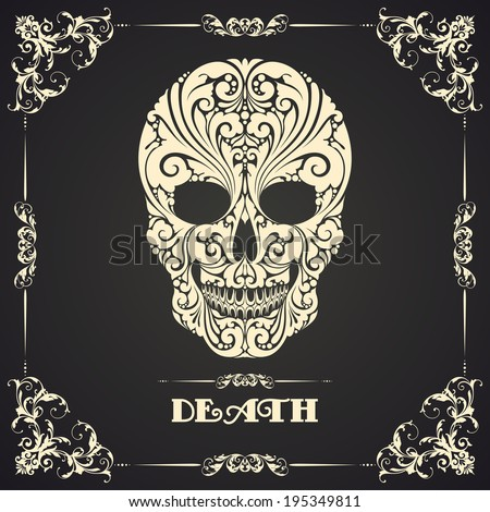 Vintage template with ornamental frame and decorative skull  - stock vector