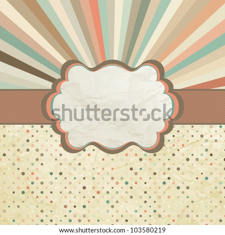 Vintage template with retro sun burst and olka dot background. And also includes EPS 8 vector - stock vector