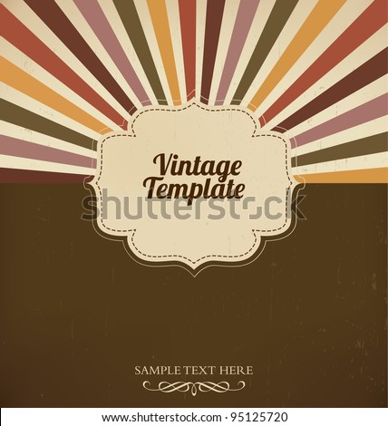Vintage template with retro sun burst background - stock vector