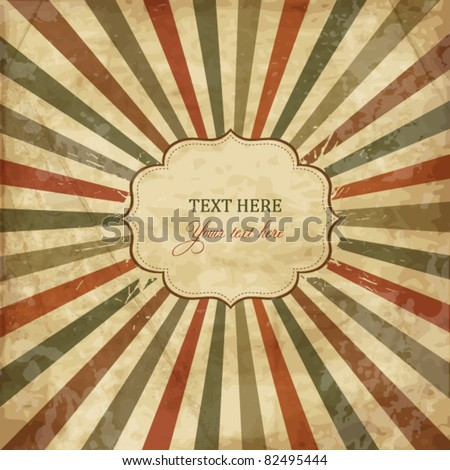 Vintage template with sunbeams, old card - stock vector