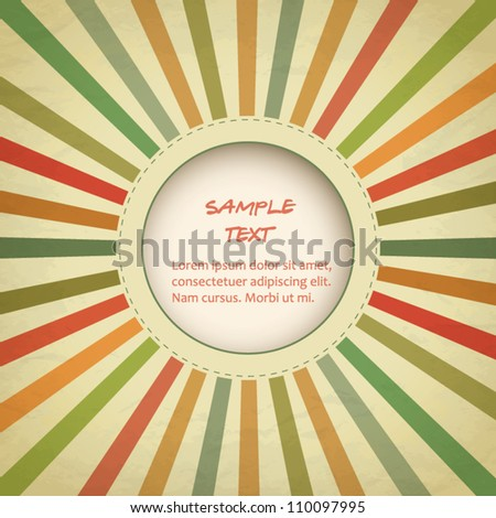 Vintage template with sunbeams retro card - stock vector
