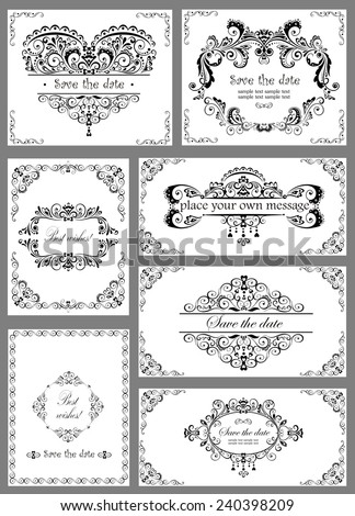 Vintage templates for wedding design - stock vector