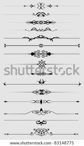 Vintage text dividers set. Vector illustration - stock vector