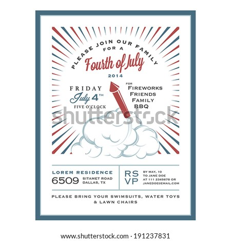 Vintage 4th of July Independence Day invitation card - stock vector