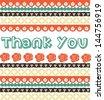 Vintage thank you card - stock vector