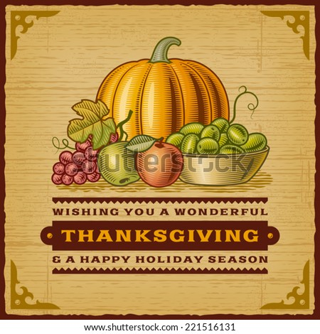 Vintage Thanksgiving Card. Fully editable EPS10 vector. - stock vector
