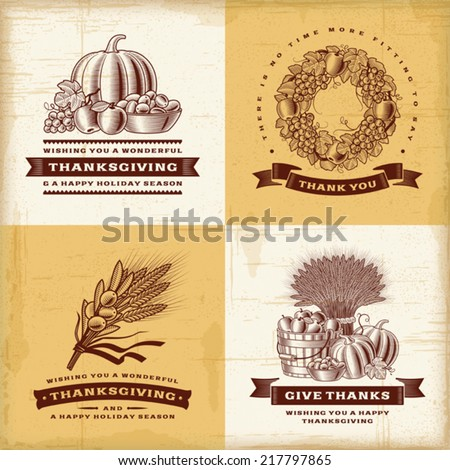 Vintage Thanksgiving labels set. Fully editable EPS10 vector. - stock vector