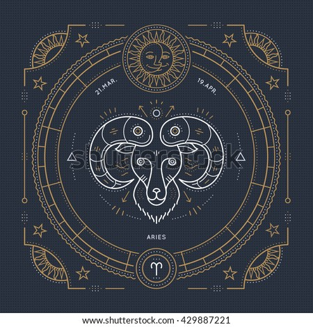 Vintage Thin Line Aries Zodiac Sign Stock Vector 429887221